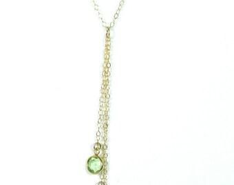The Elana. Birthstone Y drop necklace