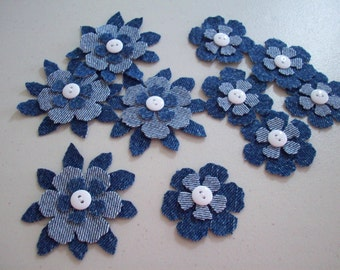Upcycled Denim - Repurposed Jeans - 10 Piece Set -  Die Cut Denim Flowers w/ Button Embellishment