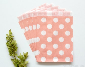24 Light Pink Polka Dot Flat Paper Bags 5X7 inch Party Favors, Wedding Favors, Birthday, Baby Shower, Bridal, Bakery