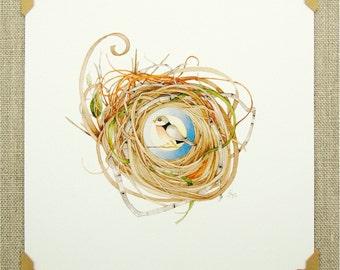 robin bird full moon nest watercolor reprint nature night whimsical branch digital archival reprint