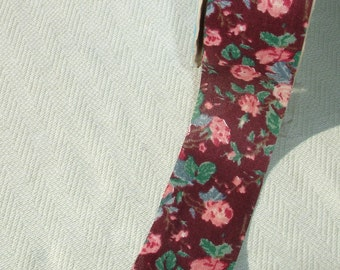 Vintage Red Floral Fabric Ribbon - Craft supply