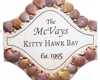 Personalized Shell Beach House Sign