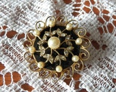 Exquisite Coro Onyx, Pearl and Rhinestone Brooch