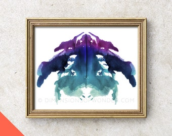 Printable Art (INSTANT DOWNLOAD) Rorschach ink blot, Rorschach stains, psychology, gift for psychologist, psych student, in color, colored.