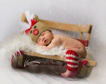Christmas Hat & Leg Warmers  ..... Rudolph the Red Nosed Reindeer  newborn photography prop