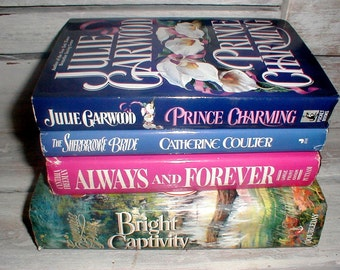 Four Romance Novels  *Pretty Dustjackets* Charming Library Display/Sitting Room Decor