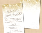 White Gold Sparkles Text-Editable Shower Invitation: 4 x 6 - Instant Download