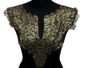 SALE Day NEW Black and Gold Lace Necklace Applique Collar for Garments and Crafts