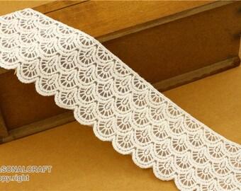 2 Yard Lace Trims 8.5cm Wide,Embroidery,Vintage Style,Beige White Black Color,Floral,European Royal Texture,Cotton(DL45)