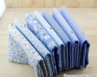 """Light Blue Bundle Blue Cotton Fabric Bundle- Blue Fabric Fat Quarter Bundle, 7 Fat Quarters Pieces each 19""""X19"""" (QT512-M)"""