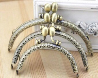 1Pcs Vintage Embossing Antique Brass Plated Metal Purse Frame for Purse Bag Making (3 size)-1piece T181