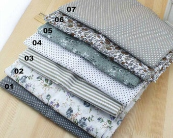 "Grey Bundle Grey Cotton Fabric Bundle- Grey Fabric Fat Quarter Bundle, 7 Fat Quarters Pieces each 19""X19"" (QT519-M)"