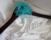 Bride Wedding Hanger With Flower, Personalized Bridal Gifts