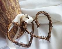Rustic Wedding Ceremony & Reception Decor, Twig Hearts With Ribbon