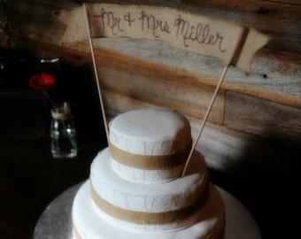 """Burlap """"LOVE"""" Banner, Wedding cake topper, rustic chic, cottage chic, country chic"""