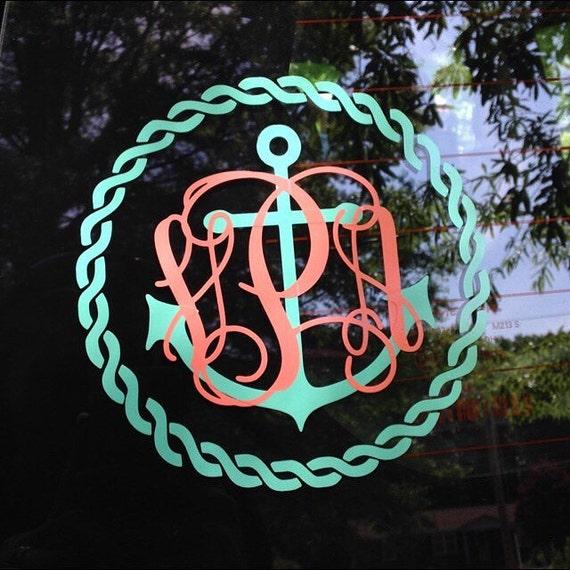 Anchor Rope Monogram Decal Car Decal Vinyl Decal Nautical - Anchor custom vinyl decals for car