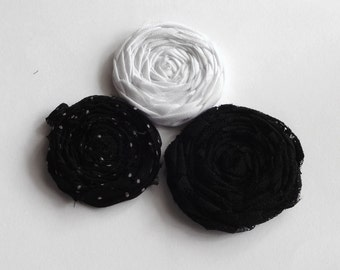 Black and White Fabric Rosettes Embellishment