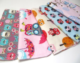 Cloth Napkins, 5 Owl Napkins, Kids Cloth Napkins, Lunchbox Napkins, Eco-Friendly Reusable Unpaper Napkins, Back To School