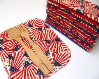 SALE 20 Cloth Napkins, 4th of July Napkins, Eco-Friendly Party Napkins, Picnic Cloth Napkins, Stars and Stripes Flag Napkins