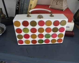 White Polka Dotted Cigar Box Purse, Vintage Vanity Purse, Tiddly Winks, Bingo Chips
