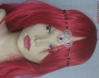 Red Swarovski Crystal & Antiqued Silver Moon Headpiece - Headdress Circlet Wiccan Pagan Gothic Medieval Renaissance