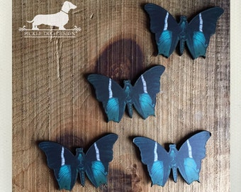 CLEARANCE! 4 Blue Butterfly Pendants -- (Vintage-Style, Moth, Insect, Pendant, Rustic, Craft Supplies, Butterfly Jewelry, Wood)