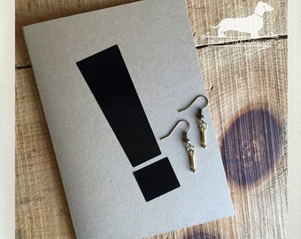 CLEARANCE! Exclamation. Dangle Earrings -- (Vintage-Style, Little Dangles, Simple, Minimalist, Modern, Cute, Birthday Gift for Her Under 5)