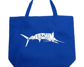 Large Tote Bag - Marlin - Gone Fishing