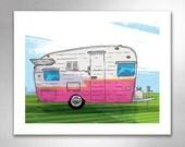 VINTAGE TRAVEL TRAILER 1 Pink Orange Art Print by Rob Ozborne