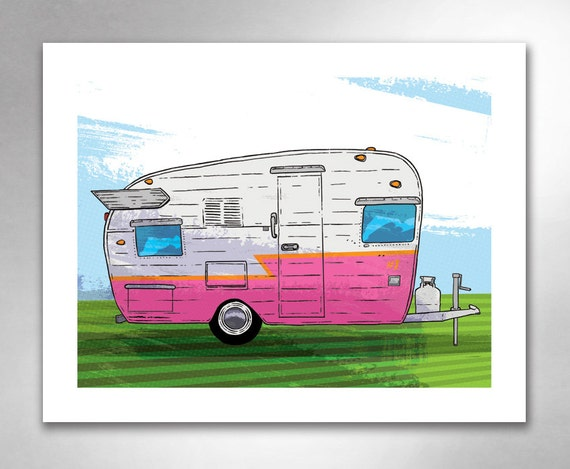 VINTAGE TRAVEL TRAILER 1 Pink Orange Art Print by Rob Ozborne