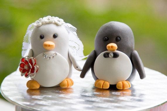 Black & Grey Penguin Wedding Cake Topper