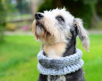 CHRISTMAS SALE Dog grey neckwarmer with bow, hand crocheted, pet accessories, clothing, ellegant pet
