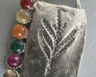 Multistone Silver Pendamt - Handmade jewelry - Contemporary jewelery