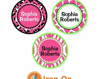 Iron On Labels (2 Sizes), Animal Prints Bright Pink