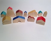 Tiny wooden set house. Miniature wooden houses. Set of 11. Handpainted multicolor. Rainbow colors. Wooden miniature houses by bois et rois