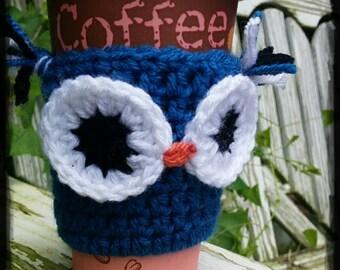 Crochet Owl Cozy, Knitted Owl Cozy, Coffee Cozy with Owl, Adorable Cozy, Cozy with Owl, Coffee Cozy, Coffee TOGO cup cozy, Coffee sleeve