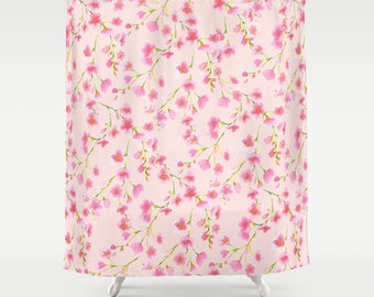 Pink and green floral shower curtain, cherry blossom pattern, watercolor  floral, shabby chic, French Country bathroom decor, girls bath
