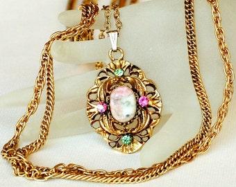 Goldette Multi Strand Rhinestone Pendant Necklace