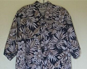 "Men's Vintage Hawaiian Shirt, "" Cooke Street "", Honolulu, 100% Cotton, Casual Short Sleeve Shirt, Unisex, Size XXL, 1990"