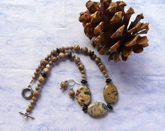 19 Inch Lovely Taupe, Brown and Gray Jasper Necklace with Earrings