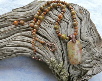 21 Inch Autumn Jasper and Copper Pendant Necklace Set