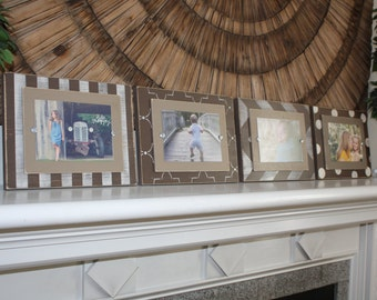 Picture Frames, Set of 5x7 Frames, Wall Gallery, Frame Set, 5x7 Frames, Chevron Frame, Distressed Frame, Wall Collage