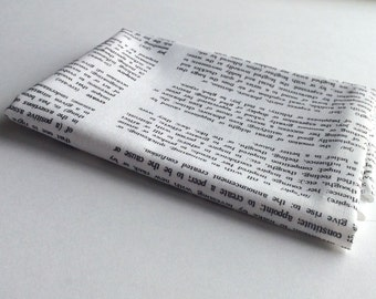 Dictionary Text Fabric - White Low Volume Yardage
