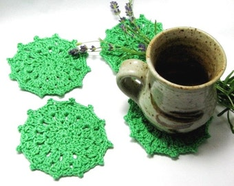 Green Crochet Coaster Glass Coaster Crochet Doily Medium size