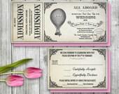 Steampunk Hot Air Balloon Ticket Invitation and RSVP, Printable Ticket Invitation, Wizard of Oz Wedding theme, Vintage Antique Wedding Theme