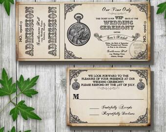 Steampunk Printable Ticket Wedding Invitation and RSVP, Printable Ticket Invitation, Pocket Watch Invitation, Vintage Ticket Invitation
