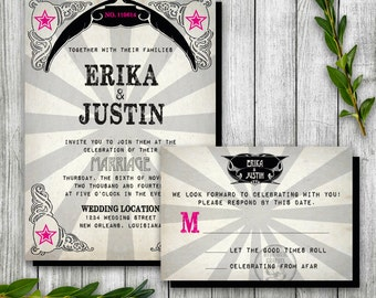 Punk Rock Wedding Printable Invitation and RSVP card, Rock Music Theme, Gothic elements