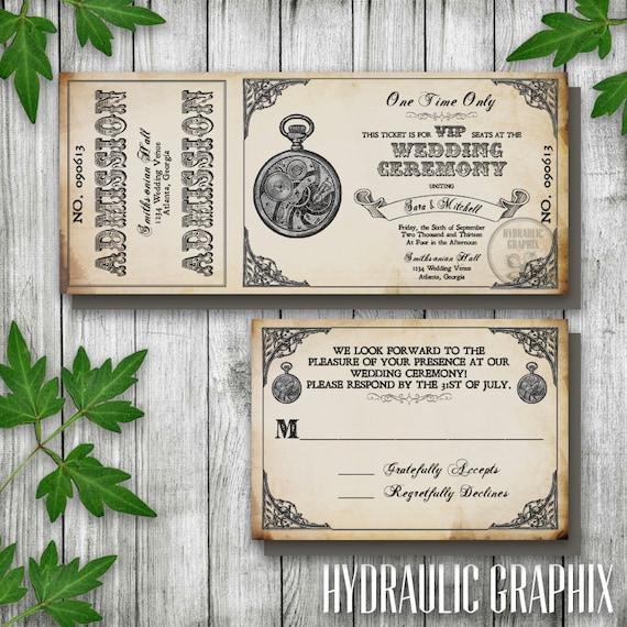 Steampunk Printable Ticket Wedding Invitation