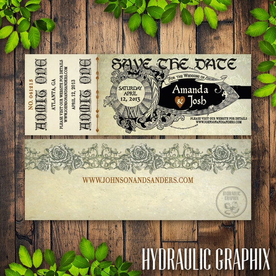 Romeo And Juliet Wedding Invitations: Shakespeare Wedding Ticket Save The Date By HydraulicGraphix