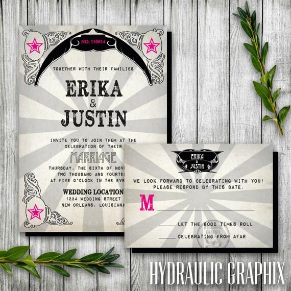 Punk Rock Wedding Printable Invitation And RSVP Card, Rock